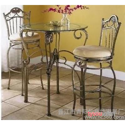 欧式田园桌椅组合 吧台椅简约茶几铁艺休闲椅桌椅 定做