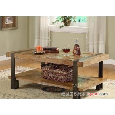 松木铁艺茶几 实木茶几 复古桌子 防锈做旧茶几 沙发边几家居