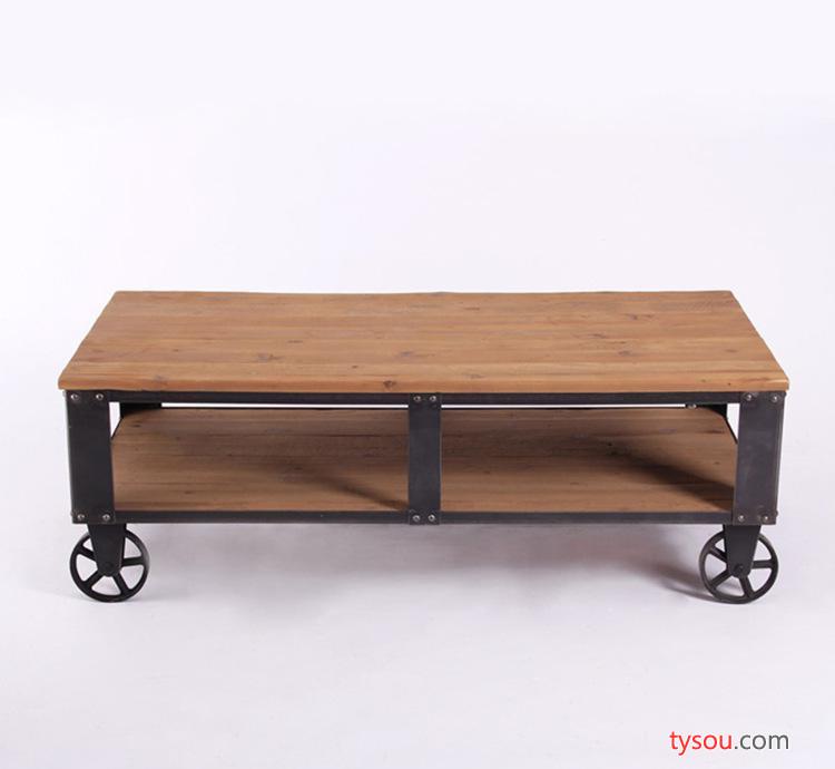 美式铁艺复古铁艺做旧带滚轮可移动茶几 多功能实用家用实木茶几