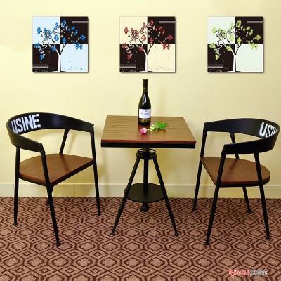 定制            阳台创意休闲茶几 欧式客厅实木升降方形茶桌 铁艺洽谈桌椅组合