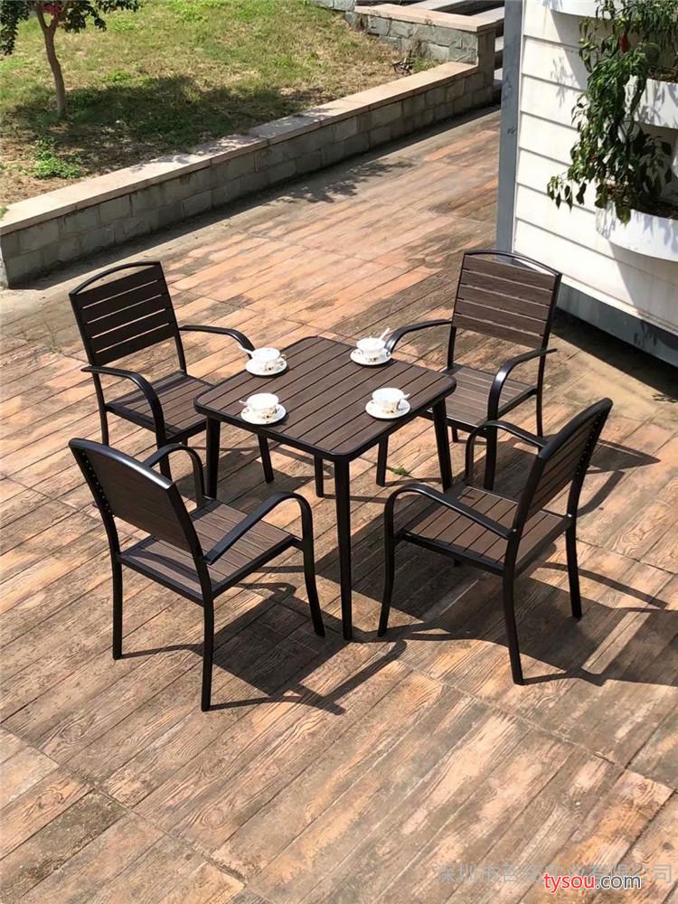 阳台户外桌椅室外铁艺小茶几防腐塑木简约休闲庭院露天台桌椅组合